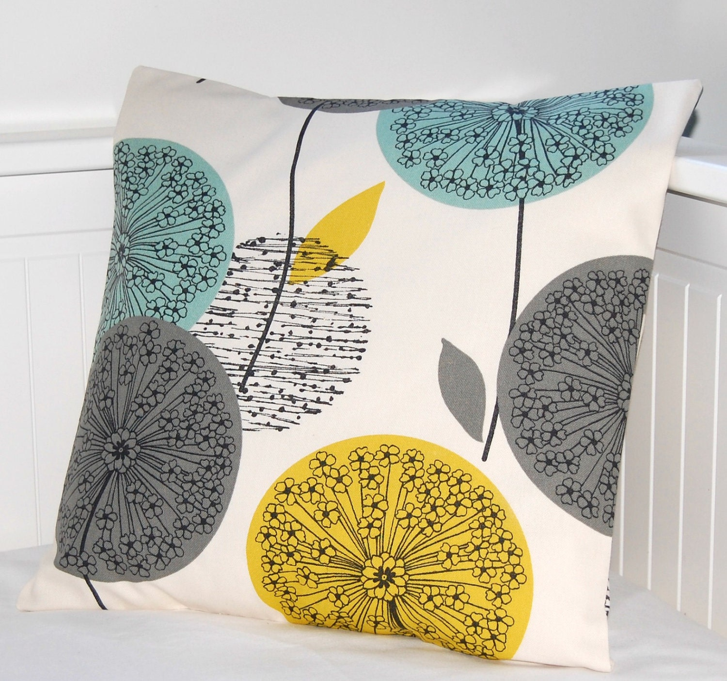 Teal Grey Mustard Dandelion Cushion Cover Flower Pillow Cover