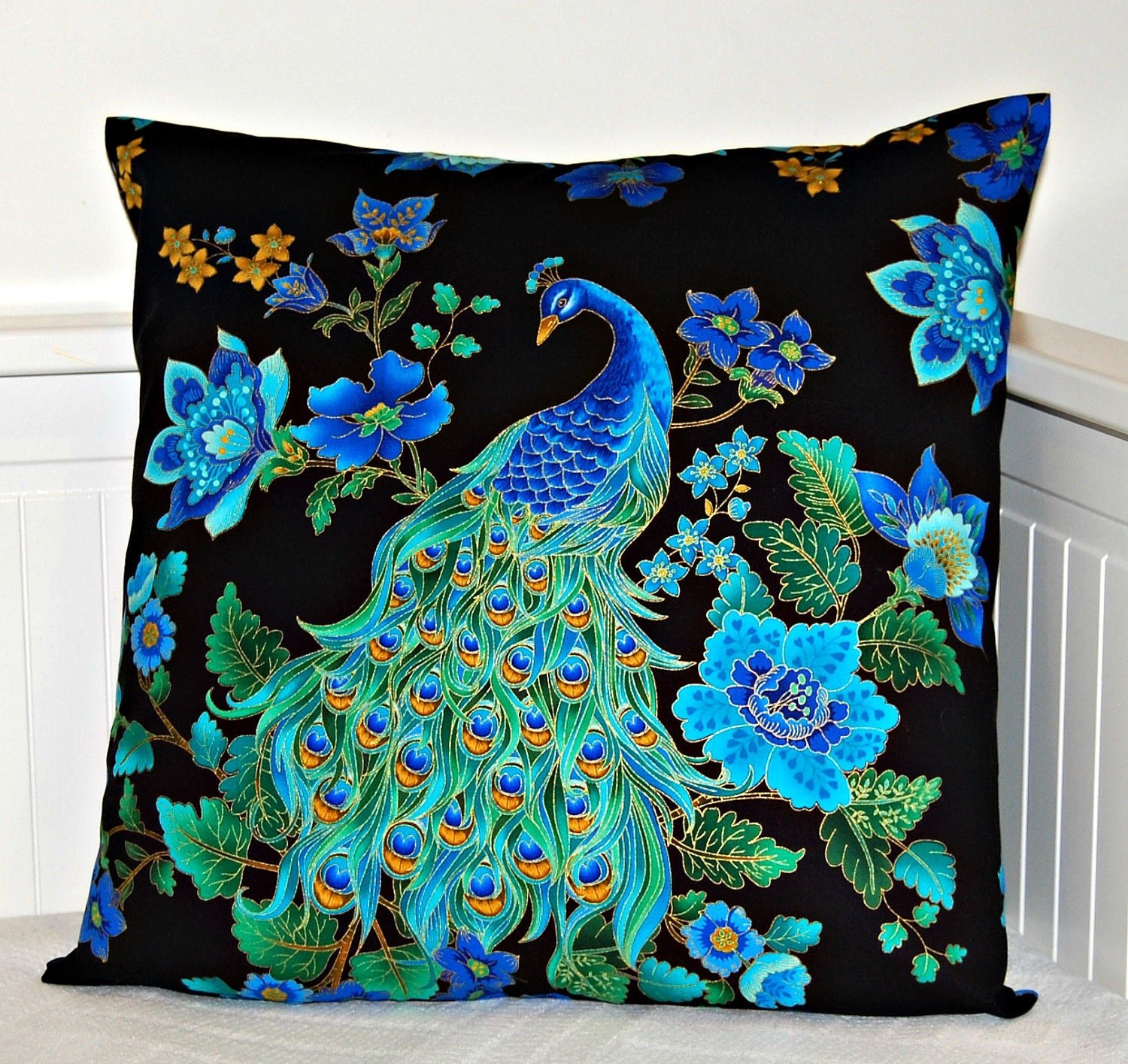 Peacock Blue Throw Pillow : Chandeliers & Pendant Lights