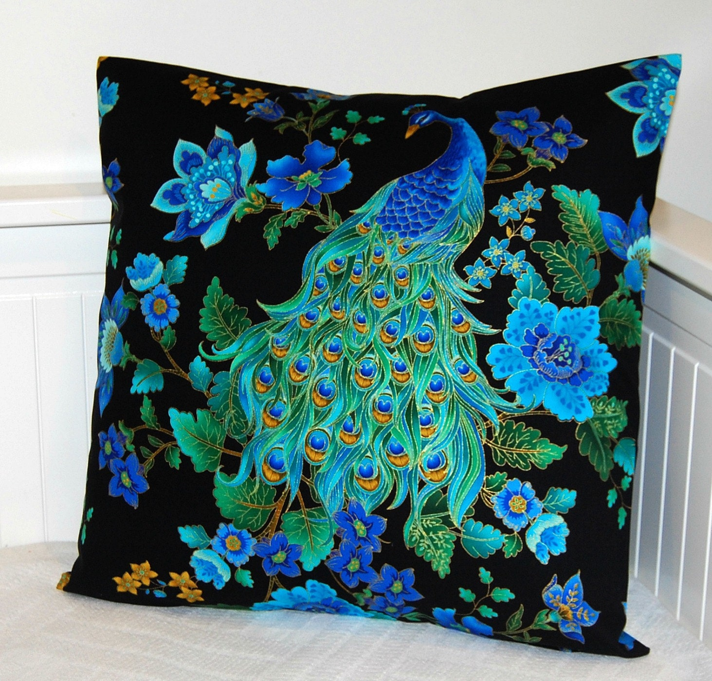 Peacock Blue Throw Pillows : peacock blue decorative pillow cover cushion cover 18 inch