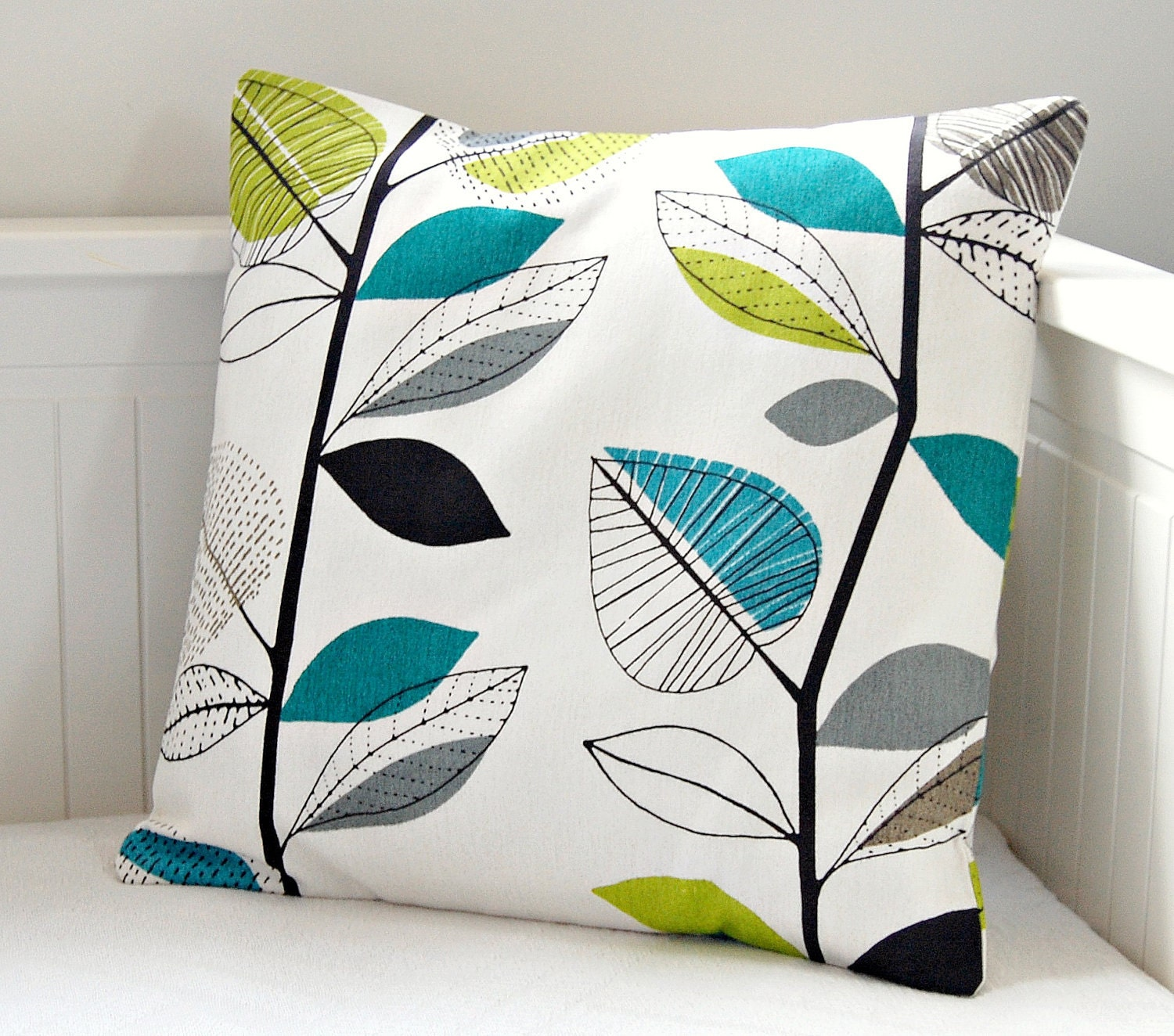 decorative pillow cover teal blue lime green grey leaves 18