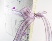 Handmade Purple Birds and Cages Fabric Covered Notebook Journal