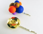 Handmade Polymer Clay Balloon Beads & Vintage Gold Button Bobby Hair Pins