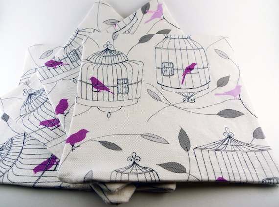 Purple Birds and Cages Fabric Coasters