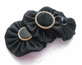 Black hair Comb, black hair accessory, black hair piece, black fabric hair accessories