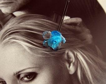 Something Blue Flower Hair Pin