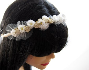 Vintage Flower  Head Piece, Wedding Head Wreath, Bridal Hair Circlet - EVA