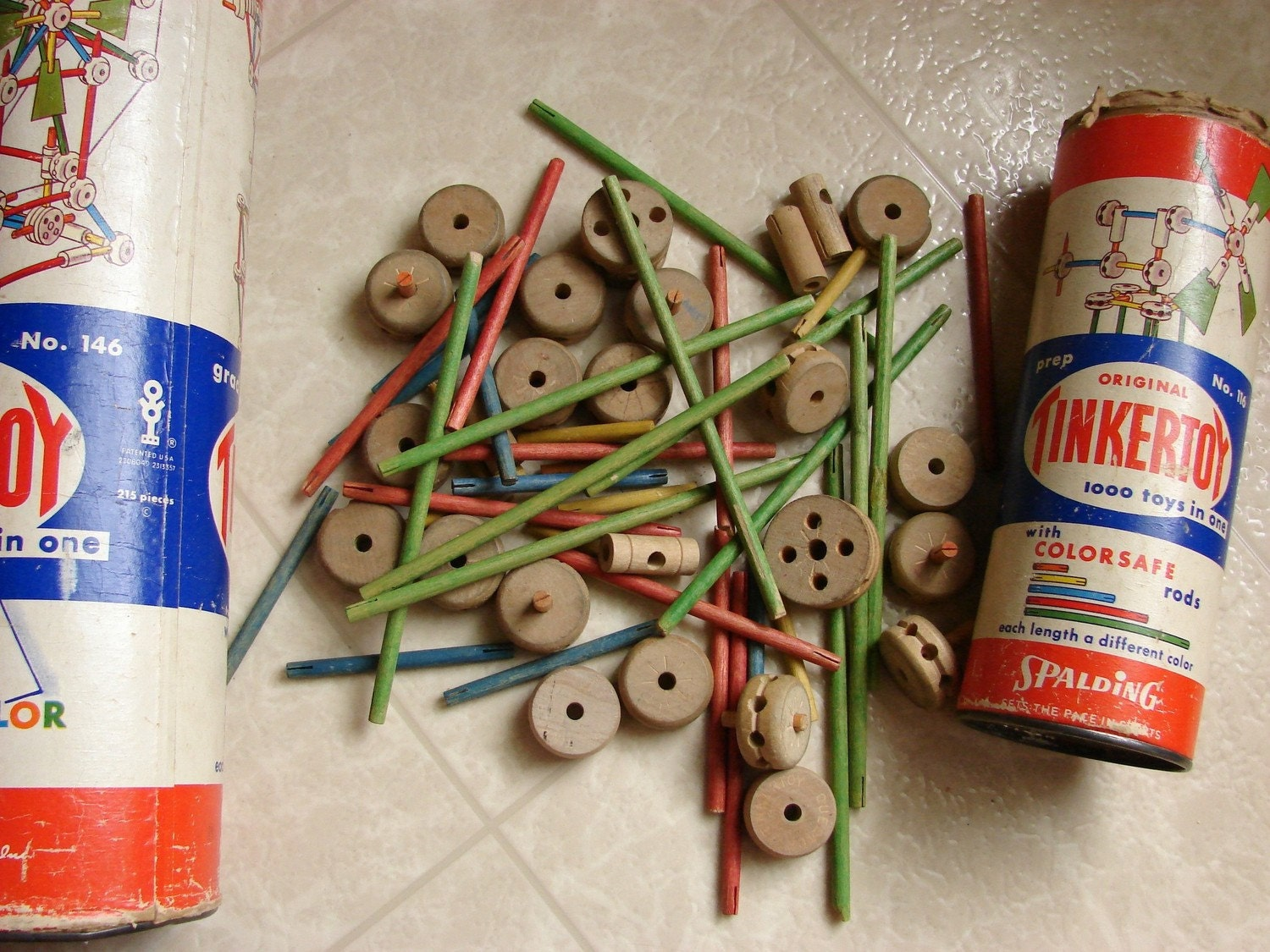 Vintage Toys From The 60s : Tinker toys set original can s toy tinkers