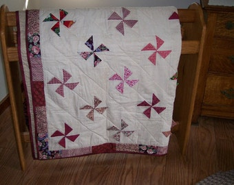Hand Quilted Folded Floppy Pinwheel Quilt