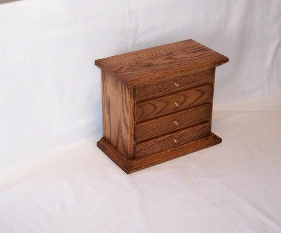 4 Drawer Oak Jewelry Box (FREE SHIPPING) USA Only