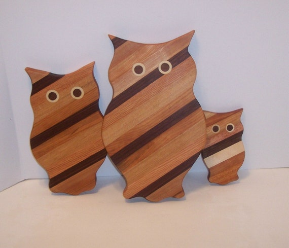 3 Owl Wood Cutting Board Set