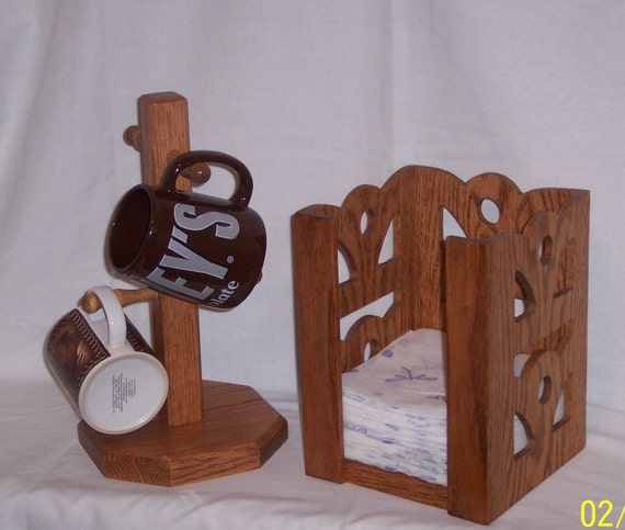 Napkin Holder and Mug Holder Set made from Solid Oak