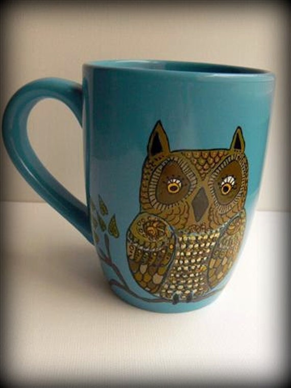 Large Blue handpainted mug with wise old owl perched on branch