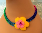 Reserved for EclisseCreazioni Kumihimo Hand Braided Rope Satin Necklace --- rainbow, yellow, pink