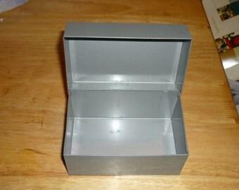 Metal Recipe Card File Box, Vintage, metal file box, metal file card box, index cards