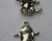 2 Cat hanging from a limb Pewter Charm Pendants