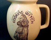 RESERVED for GYPSYFROGGIE - Yellowware Good Luck Cooking Witch Pottery Pitcher - Wiccan Interest, Halloween Decor - (epsteam vintage)
