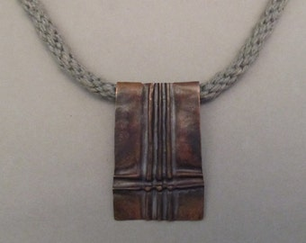 Copper Foldformed Pendant on Kumihimo