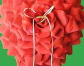 READY to SHIP - Heart Shaped Red Rose Flower Petal Ring Bearer Pillow