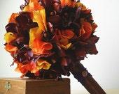 GRAND 10 Inch Premium Silk Rust Orchids, Orange Hydrangea, Bronze Wedding Bouquet  for Late Summer, Fall, Autumn Upscale Wedding