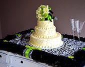 Wedding Cake Riser Stand Table Decoration, Custom, Black, White Damask with Lime Green Button Mums