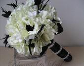 Hollywood Glam Great Gatsby Black and White Silk Anemone Wedding BOUQUET & BOUTONNIERE Set Rhinestone Wrap Feathers
