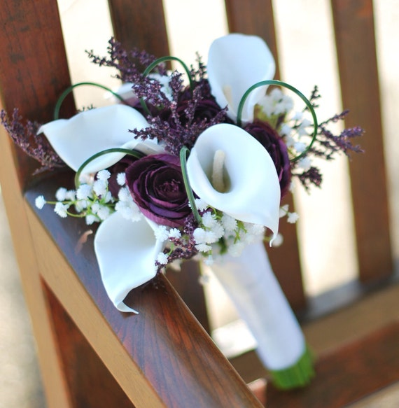 Artificial Calla Lilies, Ranunculus, Hand Tied Wedding BOUQUET & BOUTONNIERE SET in White, Purple Traditional, Fairytale or Classic Wedding