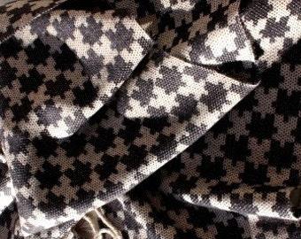 Handwoven Wool/Silk Scarf - 'Black Jigsaw Design'