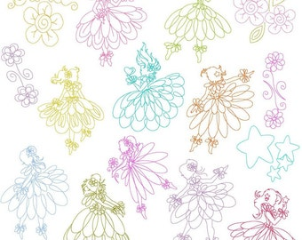 SALE Instant Digital Download Set of 15 Linework Fairy Dancers 2 sizes incl 4X4 & 5X7 Machine Embroidery Designs