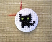 Black Cat Cross Stitch Badge