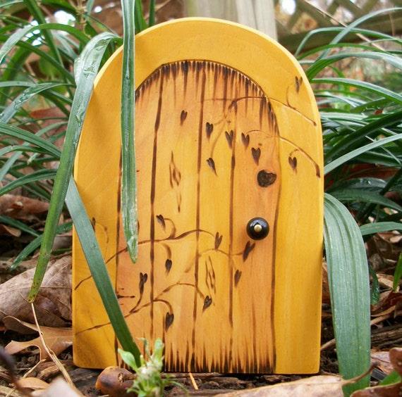 Wooden fairy door golden ivy manor 6 inches by for Wooden fairy doors that open