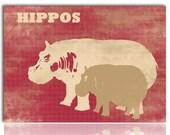 Hippos -  Kids Art Prints,  hippopotamus, nursery decor, baby hippo, mummy hippo, hippos, nursery decorating ideas, hippopotamus art