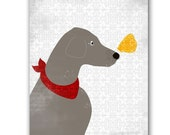 Weimaraner Art - Fine art print  Weimaraner dog  with butterfly