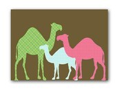 The Herd of Camels -  Kids Art Prints, dessert animals, camels, pink,blue and green colors