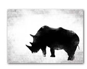 Black & White Rhino - Fine art print, Rhinoceros silhouette, rhino animal, print black rhino, Mothers Day