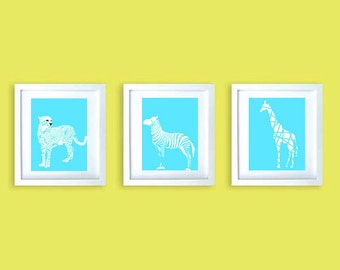 Safari animals Zebra, cheetah and giraffe with pattern in blue background- nursery decor,jungle animals