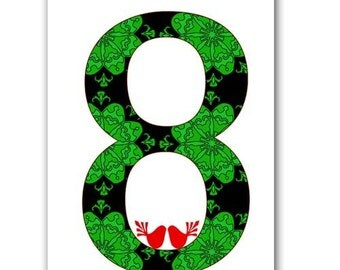 Number Eight with damask design - Fine Art Print