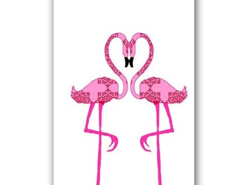 Heart  made by two flamingos -  Kids Art Prints, pink color, heart shape, flamingos art print, Pink flamingo