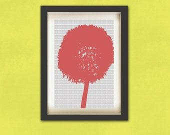 Pink Dandelion on grey - Fine Art Print, decor, wall art, dandelion silhouette, grey, pink color,dandelion art