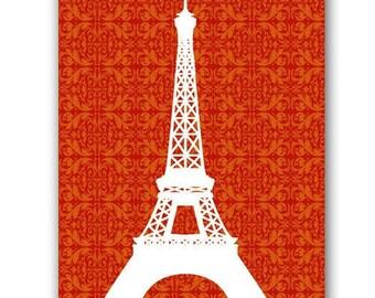 Eiffel Tower on Orange damask - Fine art print