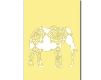 Damask Elephant in yellow color -  Kids Art Prints  nursery elephant, baby nursery ideas,  nursery decorating ideas