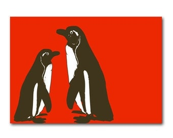 Nursery Penguins -   Kids Art Prints, two penguins, penguins silhouette, nursery decorating ideas, nursery penguins