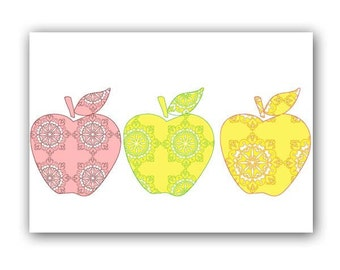 Three damask Apples - Fine art print, kitchen decor, apples, damask apples, fruits, Mothers Day