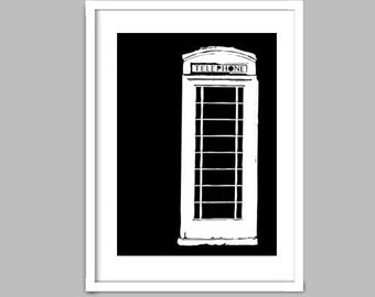 Black and White an English telephone booth - Fine Art Print kiosk, england, silhouette, old telephone booth, wall decor