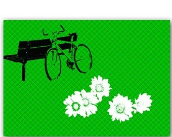Get the Bicycle out of garage as summer is here -  Fine art print, green background, daisy flowers, bicycle silhouette
