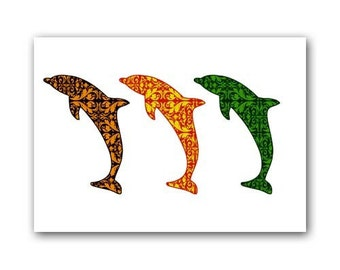 Damask trio dolphins - three colored dolphins, water animals, dolphins, nursery decorating ideas, baby nursery decor