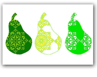Damask Pears - Kitchen decor,wall art , green,damask pears,three pears