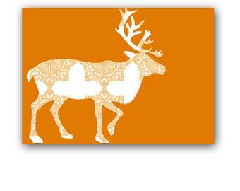 Orange Damask Reindeer-  Kids Art Prints, Nursery reindeer art print, nursery decorating ideas, happy reindeer