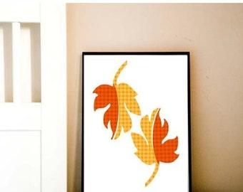 Autumn Leaves - fine art print yellow fall leaves autumn colors orange illustration, fall season, harvest
