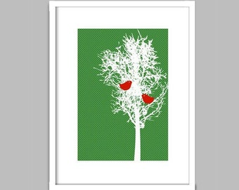 Love Birds on a Tree  - Fine art print, two love birds pecking on the tree, Wedding Gift , Anniversary Gift