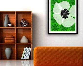 White Poppy on green damask
